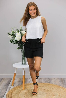 Delaney Fray Shorts - Black