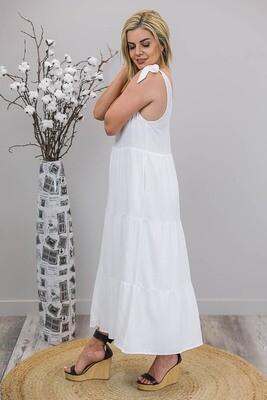 Tayla Tier Tie Maxi Dress - White
