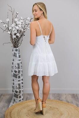 Gardenia Embroidery Anglaise Mini Dress - White