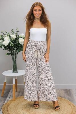 Tanny Tie Culotte Pants - White/Latte Leo