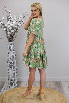 Chamomile Tassel Mini Dress - Green/Latte Floral