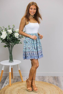 Charlie BoHo Skirt - Sky Blue/Lavender Paisley