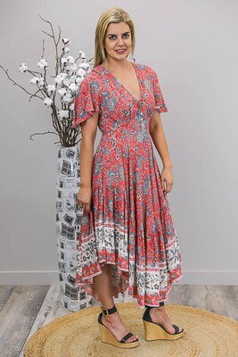 Dazzle Frill Side Hi Lo Maxi Dress - Red/Teal Fleur