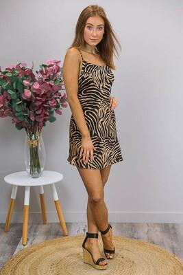 Fuji Mini Dress - Black/Mocha Zebra