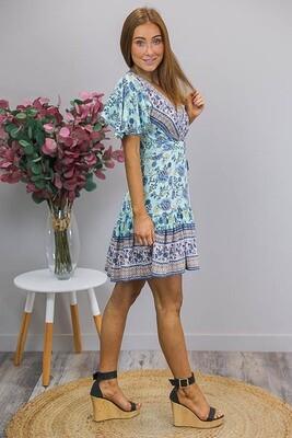 Esmerelda Wrap Mini Dress - Mint/Blue Paisley Fleur