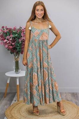 Terri Tassel Tie Maxi Dress - Jade/Apricot Border Floral