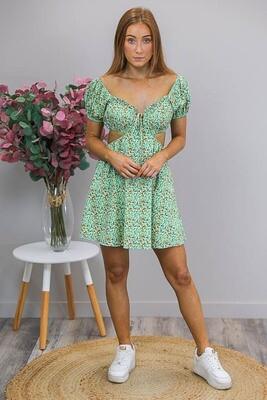 Suki Cut-Out Mini Dress - Green/Saffron Ditsy Floral