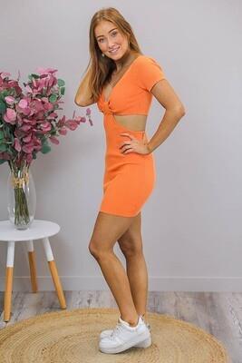Nicky Cut-Out Knit Mini Dress - Orange