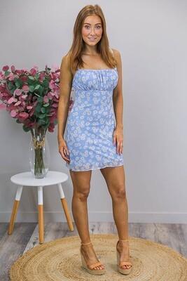 Peekablue Mini Dress - Cornflower Blue Floral