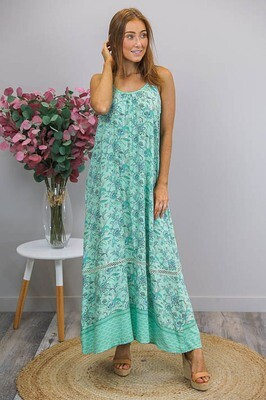 Sandra Singlet Maxi Dress - Light Jade/Teal Fleur