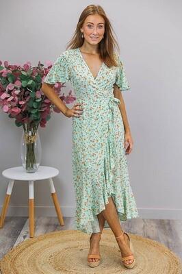 Zelda Wrap Hi Lo Maxi Dress - Mint/Saffron Fleur