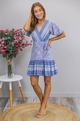 Esmerelda Wrap Mini Dress - Blue/Orange Paisley