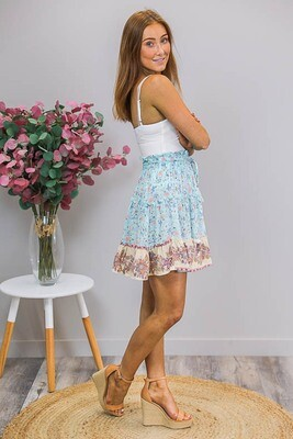 Marlee Tassel Frill Mini Skirt - Sky Blue/Blush Fleur