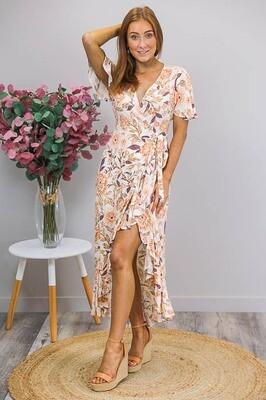 Zelda Wrap Hi Lo Maxi Dress - White/Apricot Bloom