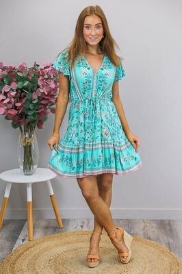 Chateau S/S BoHo Mini Dress - Turquoise/Teal Fleur