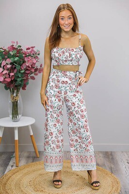 Jovie Wide Leg Pants - White/Red Green Bloom