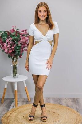 Nicky Cut-Out Knit Mini Dress - White
