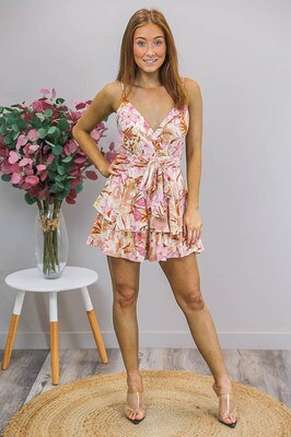 Bananarama Layered Playsuit - Pink Caramel Fleur