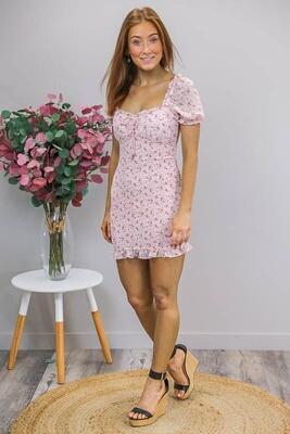 Brianna Shirred Mini Dress - Blush/Brown Fleur