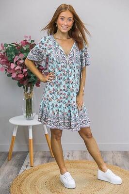 Challet Frill S/S Miniish Dress - Sky Blue/Orange Floral