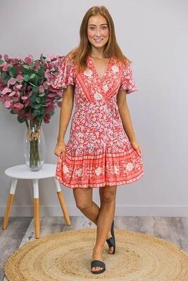 Esmerelda Wrap Mini Dress - Red Orange/Latte Fleur