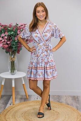 Esmerelda Wrap Mini Dress - Mauve Blue/ Blush Fleur