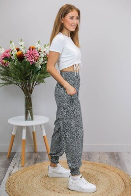 Harem Pants - Black/White Micro Leo