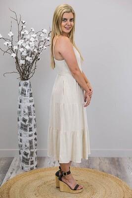 Samson Tier Midi Dress - Natural Linen Blend