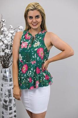 Briony Tassel Top - Emerald Green/Pink Bloom