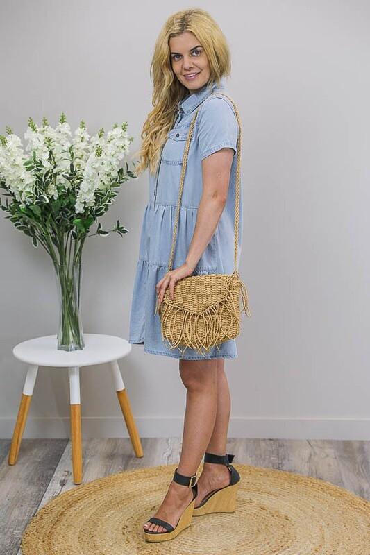 Shenzi Chambray Tier Dress - Light Denim