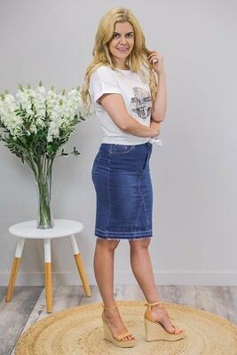 Tazzie Teased Knee Length Skirt - Dark Denim