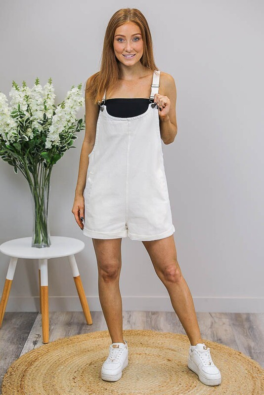 Bubblegum Overall Playsuit - White