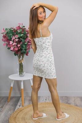 Gabbi Gather Mini Dress - Ivory Blush Fleur