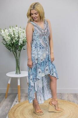 Olympia Gems Hi Lo Dress - Aqua Blue/Royal Paisley