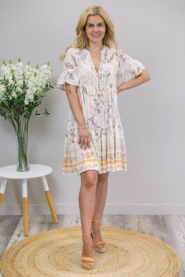 Chamomile Tassel Mini Dress - White/Blue Orange Frond
