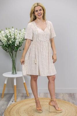 Betsy Baby Doll Tassel Dress - Latte/White Fleur