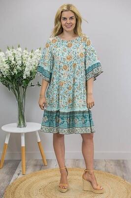 Frances Fringe Miniish Dress - Mint/Caramel Teal Fleur