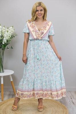 Harmony S/S Faux Wrap Maxi Dress - Sky Blue/Blush Fleur