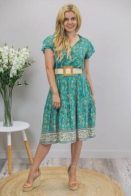 Theresa Tassel Midi Dress - Jade/Caramel Fleur
