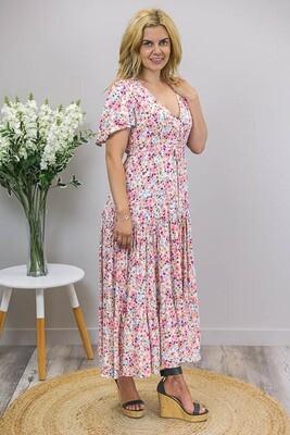Picinic Dayz Tier Maxi Dress - White/Blush Fleur