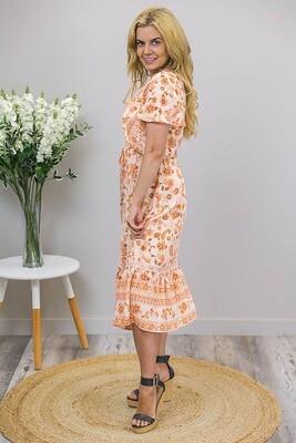 Glenda Lace Trim Midi Dress - Apricot/Peach Paisley Fleur