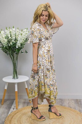 Dazzle Frill Side Hi Lo Maxi Dress - White/Mustard Fleur