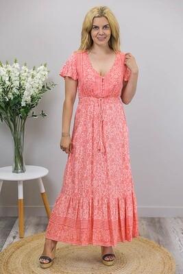 Judy Button Maxi Dress - Flamingo/Coral Fleur
