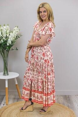 Chateau S/S BoHo Maxi Dress - Apricot/Coral Fleur