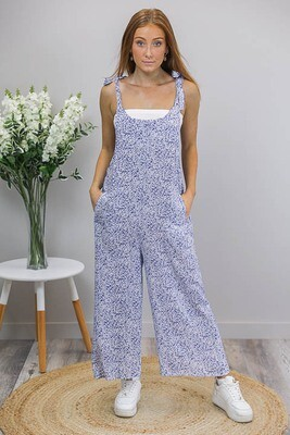 Shereen Jumpsuit - Blue/White Floral