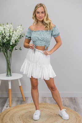 Elouera Frill Mini Skirt - White Sheen