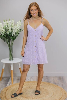 Cookies And Cream Button Singlet Dress - Mauve Embroidery Anglaise