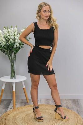 Macy Lace Crop Top - Black
