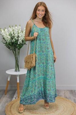 Sandra Singlet Maxi Dress - Teal/Bronze Blue Fleur