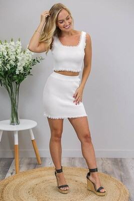Macy Lace Crop Top - White